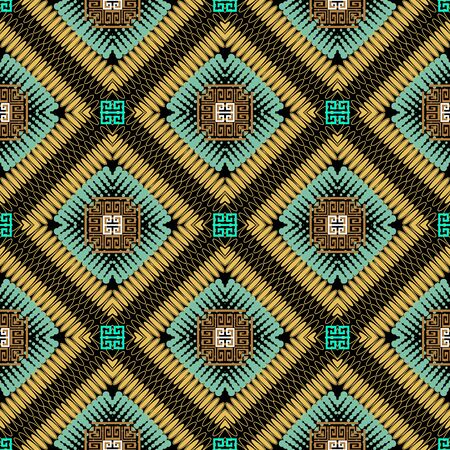 Geometric colorful greek vector seamless pattern. Modern ornamental ethnic background. Tribal repeat backdrop. Halftone dotted lines, radial shapes, rhombus. Abstract greek key meanders ornament.