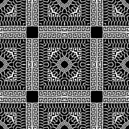 Checkered black and white greek vector seamless pattern. Ornamental geometric tribal background. Decorative abstract repeat backdrop. Vintage ancient greek key meanders ornament. Modern ornate design. 向量圖像