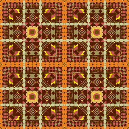Tribal vector seamless pattern. Striped geometric ornamental background. Ethnic repeat decorative backdrop. Folk ornament with rhombus, squares, borders, stripes, zigzag. Checkered elegant design. Illustration