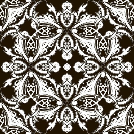 Black and white Baroque vector seamless pattern. Abstract ornamental floral background. Vintage Damask ornament with decorative flowers, leaves. Monochrome patterned design. Endless texture. Illustration