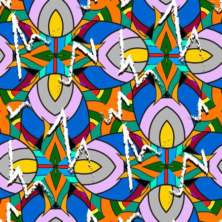 Modern colorful abstract vector seamless pattern. Bright ornamental geometric background with striped multicolor shapes, lines. Doodle hand drawn tribal ethnic ornament with zig zag grunge lines.