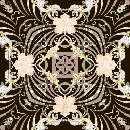 Floral Baroque style vector seamless pattern. Peony flowers ornate background. Repeat decorative backdrop. Abstract ornamental design. Elegance flourish ornament. Beautiful design for fabric, prints.