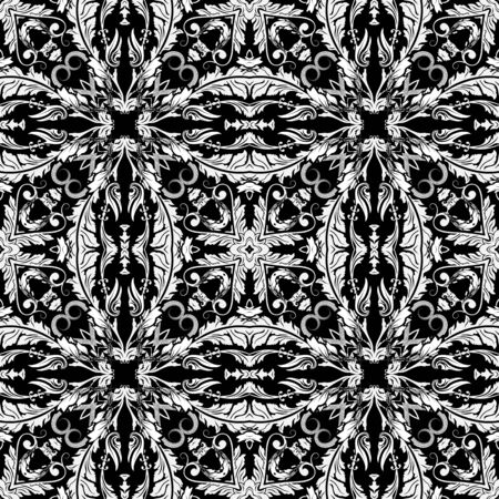 Black and white Baroque vecor seamless pattern. Monochrome ornamental leafy background. Floral repeat backdrop. Vintage flowers, leaves. Antique style ornaments. Ornate template for fabric, prints. Illustration