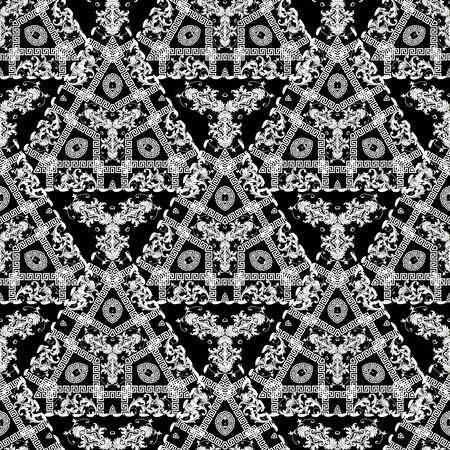 Geometric modern greek vector seamless pattern. Baroque ornamental floral background. Abstract black and white greek key meanders ornament with triangles, baroque vintage flowers, stitching lines.