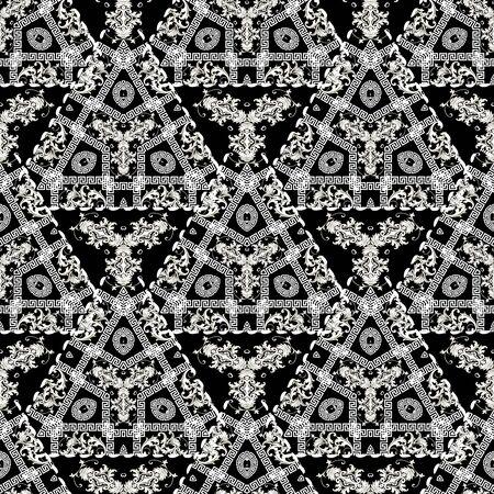 Patrón transparente de vector griego moderno geométrico. Fondo floral ornamental barroco. Ornamento abstracto de los meandros de la llave griega en blanco y negro con triángulos, flores vintage barrocas, líneas de costura.