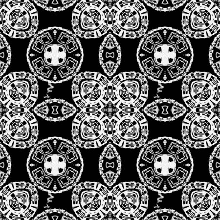 Abstract grunge black and white vector seamless pattern. Monochrome modern ornamental background. Elegant grungy tribal ornament with ancient greek key meanders, symbols, signs, zigzag lines, shapes. Vettoriali