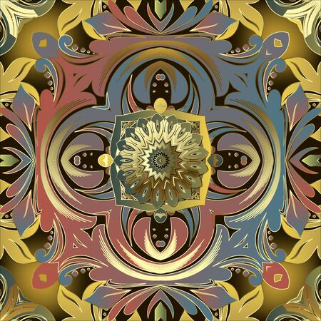Vintage Baroque style colorful vector seamless pattern. Ornamental floral modern background. Beautiful elegance symmetrical ornament with flowers, leaves, mandalas, dots, circles. Endless texture.