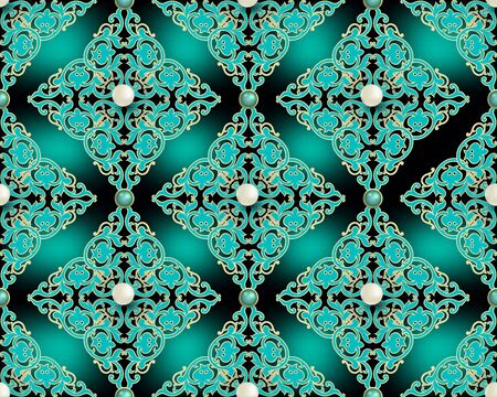 Damask seamless pattern. Vector arabesque jewelry background. Glowing repeat backdrop. Baroque style intricate ornament with gemstones, pearls, flowers. Beautiful design in turquoise gold colors.