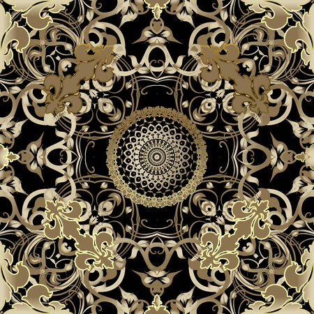 Baroque seamless pattern. Damask ornament. Vector vintage gold flowers, leaves, lines, swirls. Antique style ornate repeat backdrop. Round floral lace mandala. Luxury decoration. Wallpaper. Fabric.