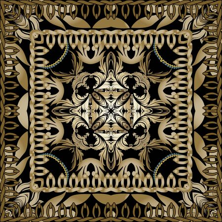 Baroque ornamental seamless pattern. Square frames with stitching effect. Floral vintage background in gold brown colors. Repeat decorative backdrop. Geometric design with borders, flowers, leaves.