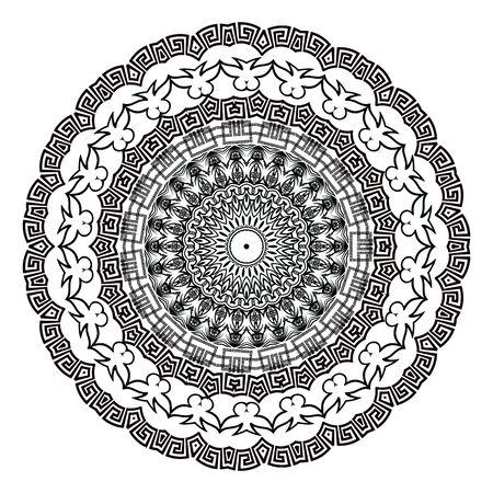 Greek vector black and white round mandala pattern. Ornamental background with floral baroque and greek frames. Geometric shapes, circles. Vintage flowers, leaves. Greek key meanders mandala ornament Vector Illustration