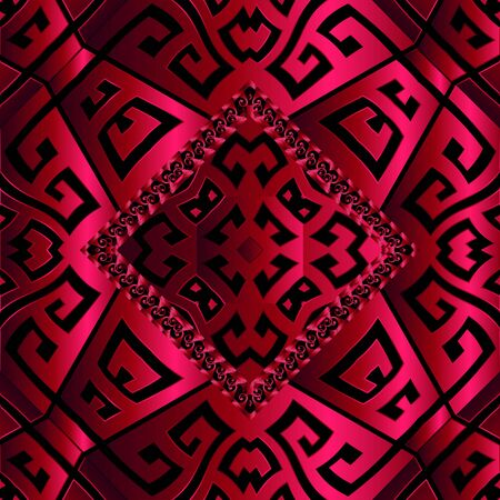 3d red greek key meanders vector seamless pattern. Geometric ornamental textured background. Abstract surface greek ornament. Rhombus frame with wave lines, shapes. Ornate shiny silk texture.