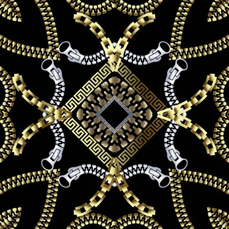 Zippers textured ornamental 3d greek vector seamless pattern. Abstract modern geometric background. Surface gold silver fasteners ornament with greek key meanders rhombus frames. Symmetrical design.