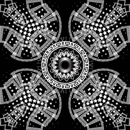Greek black and white vector seamless pattern. Beautiful abstract geometric lace ornament. Monochrome halftone background. Greek key meanders. Circles, shapes, lines, frames, stars, dots, mandala
