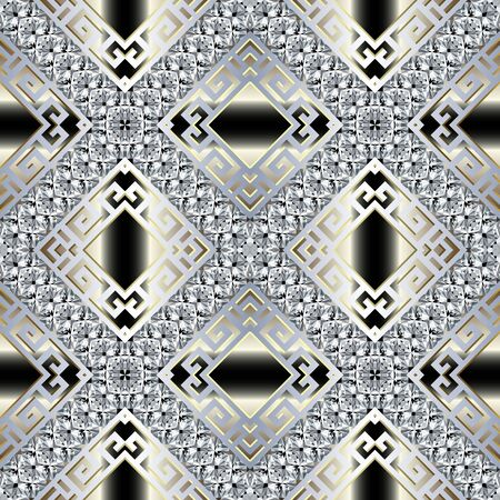Brilliants 3d vector seamless pattern. Greek ornamental jewelry background. Abstract geometric repeat gradient backdrop. Greek key meander diamonds ornament with brilliant gemstones, stripes, rhombus 矢量图像