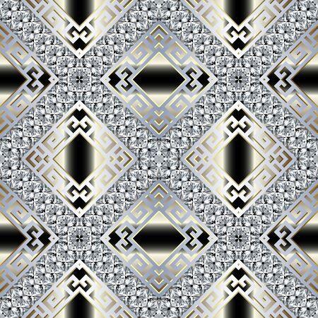 Brilliants 3d vector seamless pattern. Greek ornamental jewelry background. Abstract geometric repeat gradient backdrop. Greek key meander diamonds ornament with brilliant gemstones, stripes, rhombus Illustration