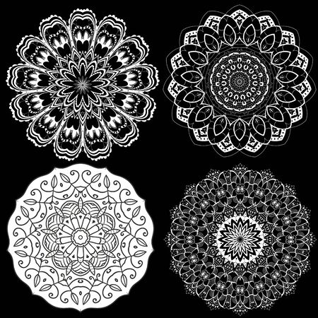 Mandalas set. Vector flowers collection. Floral background. Monochrome black and white ethnic style decorative ornaments. Ornamental isolated design. For cards, prints, fabric, textile, decoration Çizim