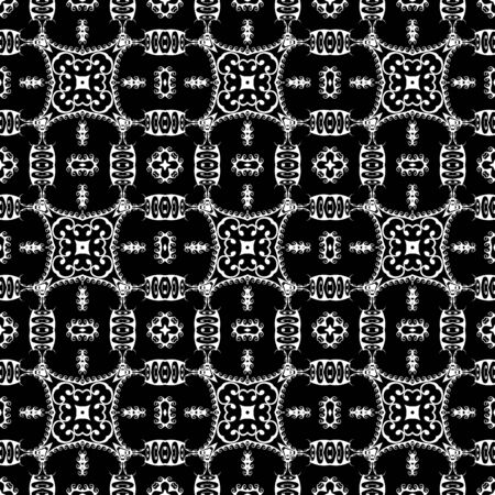 Greek tribal black and white vector seamless pattern. Floral ethnic style background. Repeat decorative monochrome backdrop. Abstract flowers, leaves, shapes, wave lines. Greek key meanders ornament.