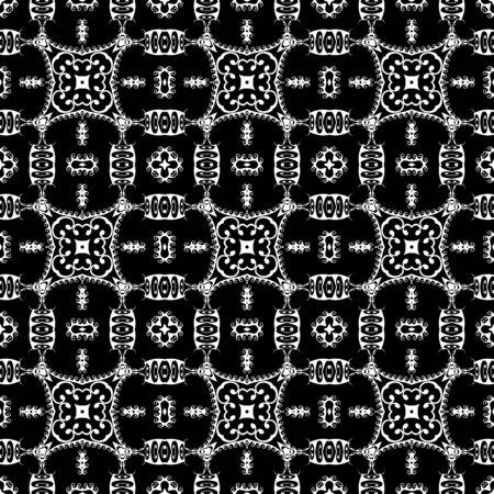 Patrón transparente de vector blanco y negro tribal griego. Fondo floral de estilo étnico. Repita el fondo monocromático decorativo. Flores abstractas, hojas, formas, líneas onduladas. Adorno de meandros de llave griega.
