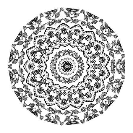 Black and white greek vector mandala pattern. Tribal geometric background. Modern decorative backdrop. Ancient ethnic style greek key meanders ornament. Ornate isolated trendy design. Zigzag, waves