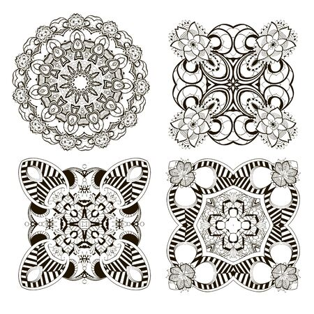 Mandalas set. Vector flowers collection. Floral background. Monochrome black and white ethnic style decorative ornaments. Ornamental isolated design. For cards, prints, fabric, textile, decoration.