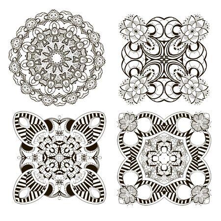 Zestaw mandali. Wektor zbiory kwiatów. Tle kwiatów. Monochromatyczne czarno-białe ozdoby w stylu etnicznym. Ozdobne na białym tle projekt. Na karty, nadruki, tkaniny, tekstylia, dekoracje.