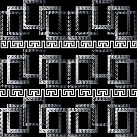 Modern greek 3d borders seamless pattern. Geometric ornamental black and white background. Abstract surface ethnic tribal style ornament with squares, lines, shapes, stripes, greek key meanders.