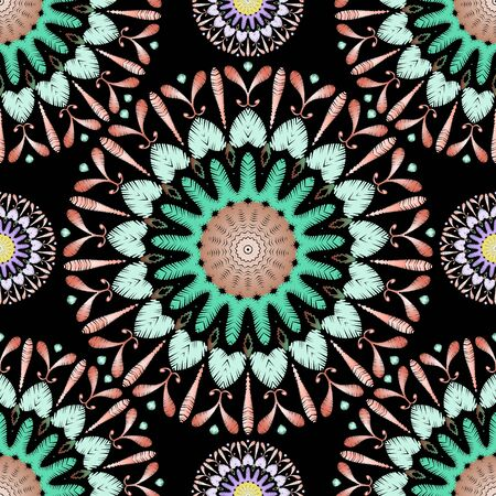 Tapestry colorful mandalas seamless pattern. Embroidery ornamental vector background. Ethnic tribal paisley flowers, shapes. Textured fabric pattern. Patterned ornate embroidered carpet ornaments. Иллюстрация