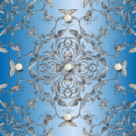 Textured tapestry 3d Baroque vector seamless pattern. Jewelry ornamental blue background. Embroidery Damask floral ornament. Embroidered vintage flowers, leaves, pearls, gemstones. Grunge texture. 矢量图像