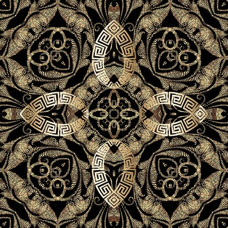 Grunge textured gold 3d vector seamless pattern. Greek style ornamental grungy background. Repeat tapestry backdrop. Ethnic abstract floral ornament. Vintage embroidery style baroque flowers, leaves. Vektoros illusztráció