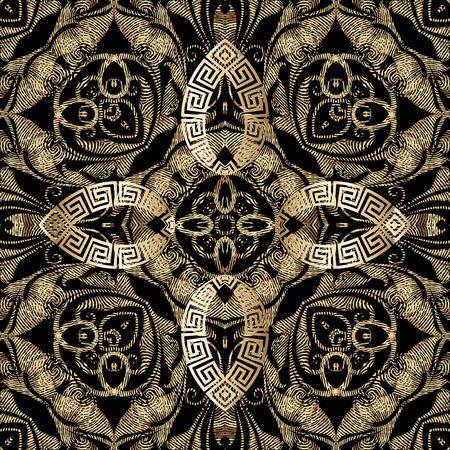 Modèle sans couture de vecteur 3d or texturé grunge. Fond grungy ornemental de style grec. Répétez la toile de fond de la tapisserie. Ornement floral abstrait ethnique. Fleurs baroques de style broderie vintage, feuilles. Vecteurs