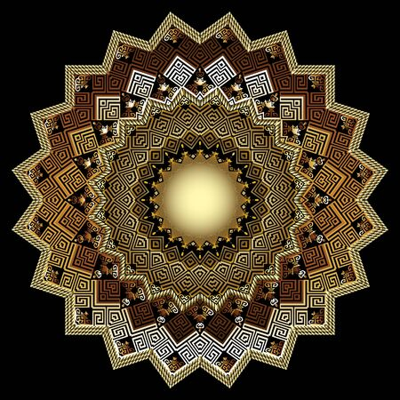 3d gold zigzag vector mandala pattern. Ornate glowing shiny background. Modern abstract round ornament with zig zag lines, shapes, greek key meanders. Ethnic style tribal abstract luxury design