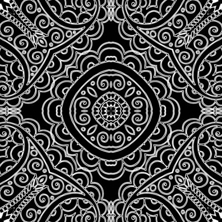 Ethnic black and white line art vector seamless pattern. Ornamental floral folk style background. Doodle lacy hand drawn ornament with lace elegance flowers, leaves, lines, swirls, shapes, mandalas