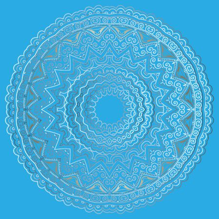 Ethnic line art round vector mandala pattern. Ornamental floral light blue background. Doodle lacy hand drawn arabesque ornament with lace elegance flowers, leaves, lines, shapes, circle frame