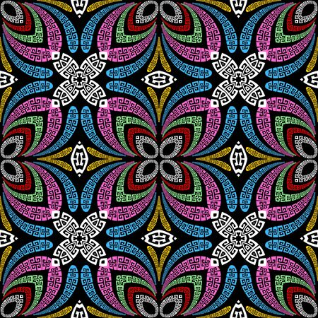 Beautiful colorful floral greek vector seamless pattern. Ornamental elegance abstract flowers background. Geometric repeat patterned backdrop. Modern ornate design with greek key meander ornaments.