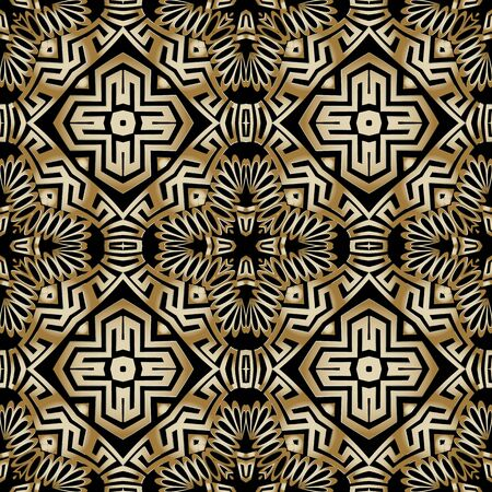 Abstract floral ethnic style vector seamless pattern. Tribal ornamental background. Geometric repeat backdrop. Modern decorative symmetrical greek ornament with geometry shapes, flowers. Ornate design