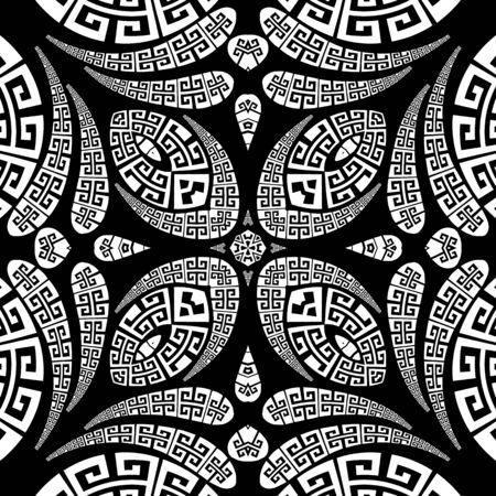 Floral Paisley vector seamless pattern. Ornamental greek ethnic style background. Vintage abstract paisley flowers, leaves, geometric shapes, lines. Greek key meanders ornate black and white ornament Ilustracja