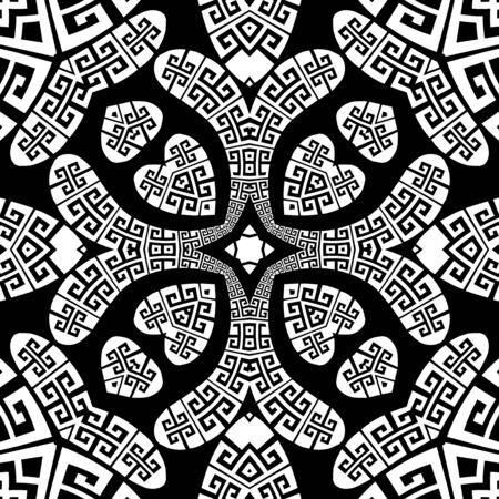 Greek style Paisley vector seamless pattern. Ornamental patterned love hearts background. Vintage abstract paisley flowers, leaves, geometric shapes. Greek key meanders black white floral ornament