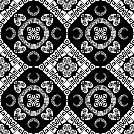 Greek vector Paisley seamless pattern. Ornamental patterned love hearts background. Vintage abstract paisley flowers, curves, geometric shapes. Greek key meanders black and white floral lace ornament