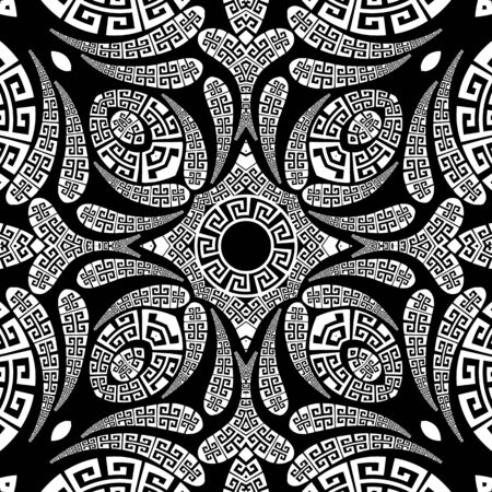 Floral Paisley vector seamless pattern. Ornamental greek ethnic style background. Vintage abstract paisley flowers, geometric shapes, circles, curves. Greek key meander lace black and white ornaments Vektorové ilustrace