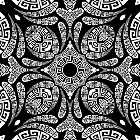 Patrón transparente de vector floral de Paisley. Fondo ornamental de estilo étnico griego. Vintage paisley flores abstractas, formas geométricas, círculos, curvas. Adornos de encaje de meandro de llave griega en blanco y negro Ilustración de vector