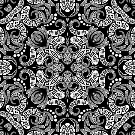 Paisley vector seamless pattern. Ornamental patterned ethnic greek background. Vintage abstract paisley flowers, dots, geometric shapes, curves. Greek key meanders black white floral lace ornament Ilustracja
