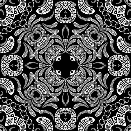 Paisley vector seamless pattern. Ornamental patterned ethnic style greek background. Vintage paisley flowers, geometric shapes, chains. Greek key meanders tribal black and white floral lace ornaments