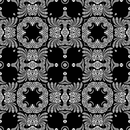 Floral elegant Paisley vector seamless pattern. Ornamental greek ethnic style background. Vintage abstract paisley flowers, geometric shapes, curves. Greek key meander lace black and white ornaments Ilustracja