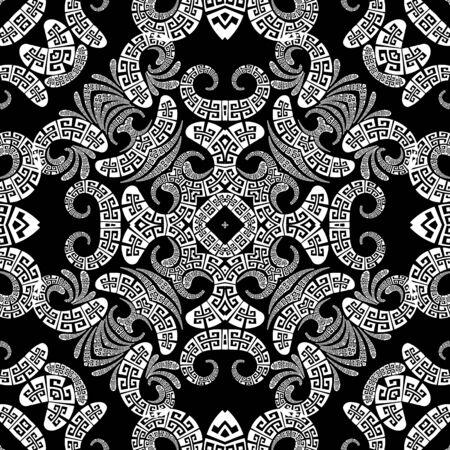 Floral Paisley vector seamless pattern. Ornamental greek ethnic style modern background. Vintage abstract paisley flowers, geometric shapes, curves. Greek key meander lace black and white ornaments