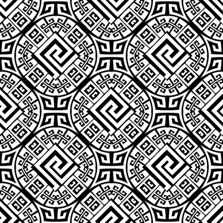 Geometric tribal ethnic style greek seamless pattern. Black and white ornamental modern background. Abstract repeat monochrome backdrop. Greek key meanders ornate ornaments with geometry shapes