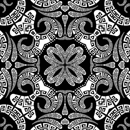 Greek vector Paisley seamless pattern. Ornamental patterned ethnic background. Vintage abstract paisley flowers, dots, geometric shapes. Greek key meanders black and white floral lace ornaments