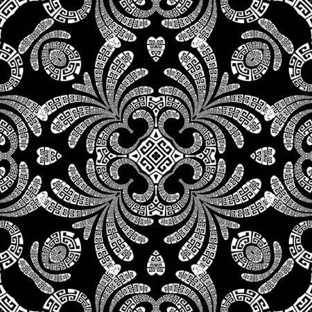 Paisley vector seamless pattern. Ornamental patterned greek background. Vintage abstract paisley flowers, leaves, geometric shapes, love hearts. Greek key meanders black and white floral ornaments