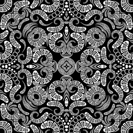 Greek vector Paisley seamless pattern. Ornamental patterned ethnic background. Vintage paisley flowers, dots, geometric shapes, chains. Greek key meanders tribal black and white floral lace ornament