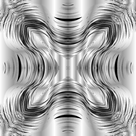 Abstract textured silver 3d vector seamless pattern. Ornamental surface black and white grunge background. Silk repeat symmetrical backdrop. Decorative ornate design. Drapery striped modern ornament Ilustracja